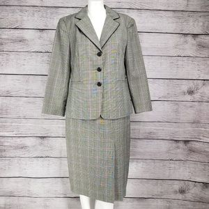 Worthington Blazer pleated Skirt Suit Windowpane